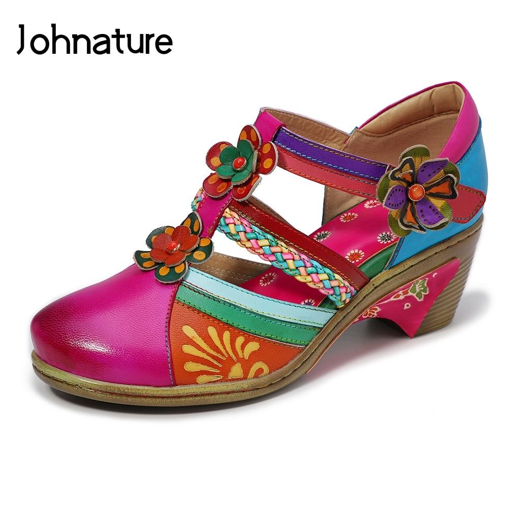 Johnature 2019 nuevo verano cuero genuino Casual gancho y bucle pintado a mano costura Retro flor mujeres Zapatos Sandalias