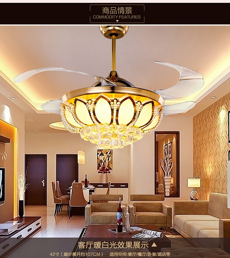 Ceiling Fans K9 crystal Electroplate Golden luxurious LED Fans light Invisible fan blade telecontrol adjustable 32/36/42 inch  - buy with discount