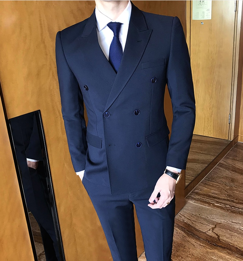 YIWUMENSA Navy Terno Masculino Tuxedo Skinny Formal Men suits Custom Made Slim Fit Set Wedding Suit For Man 2021 Traje Hombre
