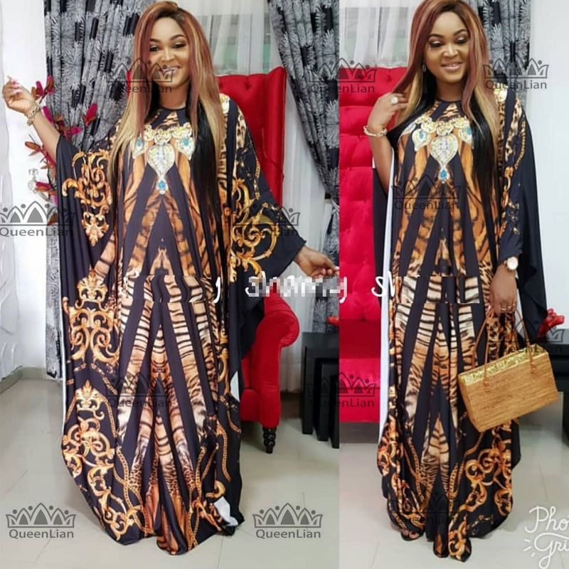 2017 Dashiki African New Fashion  Bat Sleeve Sexy Plus Size Senior Chiffon Diamond Long Dress With  For Lady XF04#