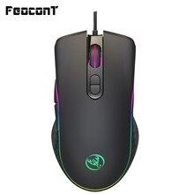 Mysz do gier przewodowy 6400DPI 4-regulacja poziomu myszka gracz 7 przycisk kolor diody LED RGB podświetlany izolowane optycznie, elektroniczna mysz dla PC Pro Gamer