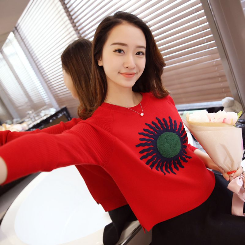 OHCLOTHING Europe 2016 autumn new European goods short sleeved loose knitted sweater shirt female