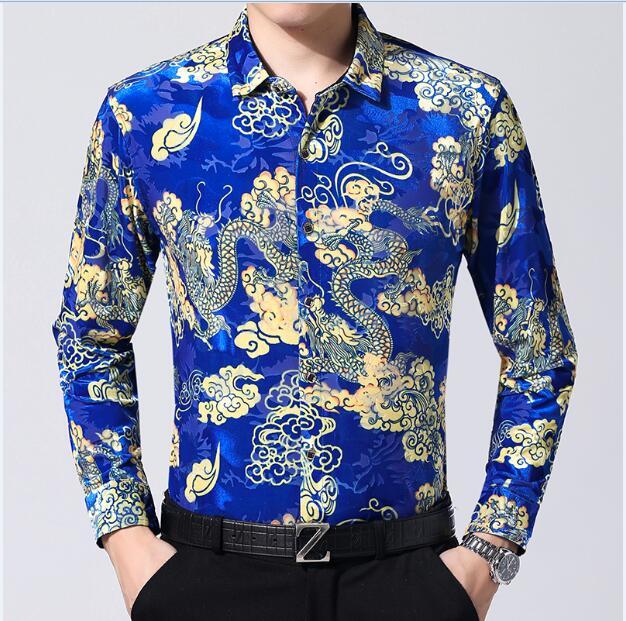 قميص طويل الأكمام للرجال ، ملابس الخريف ، الصين التنين ، المخمل الذهبي ، عرض خاص