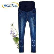 Hot Sale Good Quality Cotton Denim Skinny Maternity Jeans Holes Contrast Stitching Pockets Pencil Je