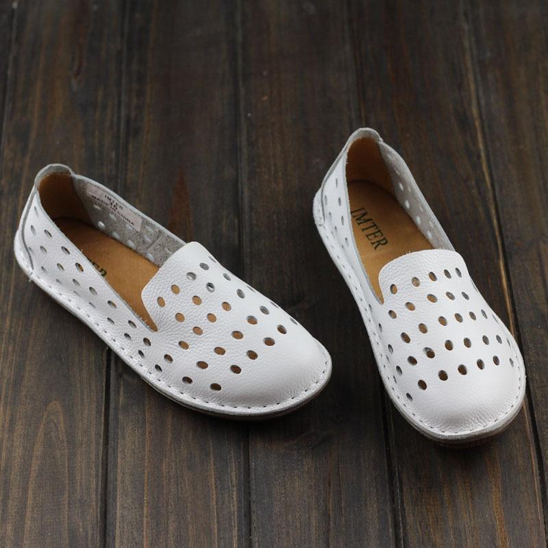 المرأة الأحذية المصنوعة يدويا حقيقية الجلود الشقق عادي تو الانزلاق على أحذية السيدات مسطح عارضة (1957-3)