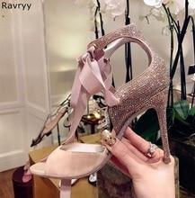 2018 peep toe vrouw hoge hak bling bling vrouwelijke jurk schoenen lace up sandalen stiletto pompen OL out past elegante partij schoenen