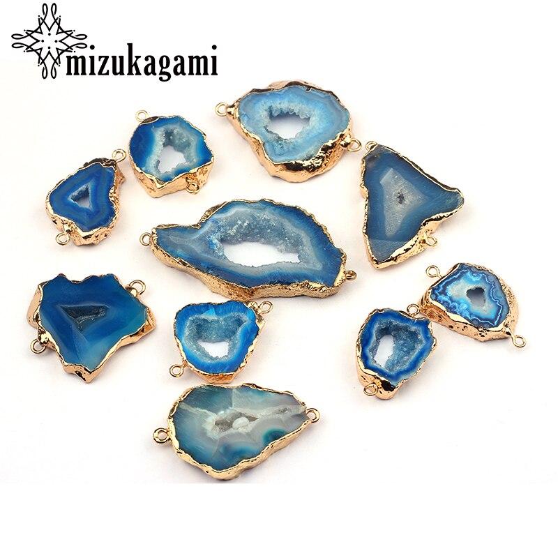 1 stücke Natürliche Stein Charms Anhänger Hohl Blau Geometrie Doppel Loch Achate Stecker Charms Für DIY Halskette Schmuck Zubehör