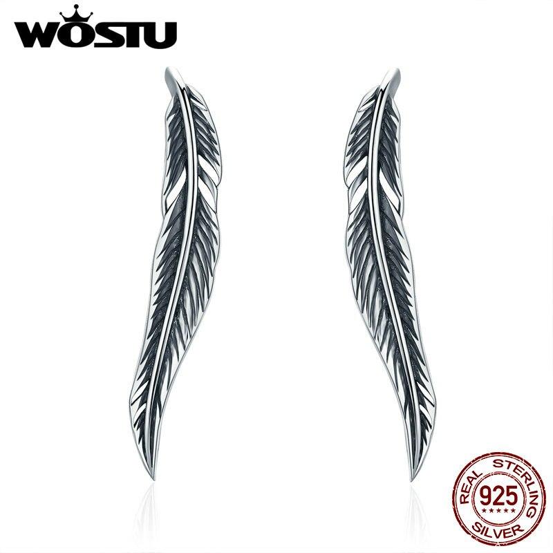 WOSTU رومانسية 925 فضة خمر الريش الرجعية أجنحة وأقراط للنساء الفاخرة الفضة والمجوهرات هدية DXE258