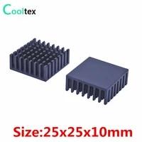 200pcslot 100 new 25x25x10mm black aluminum heatsink radiator heat sink for ic chip cooler cooling