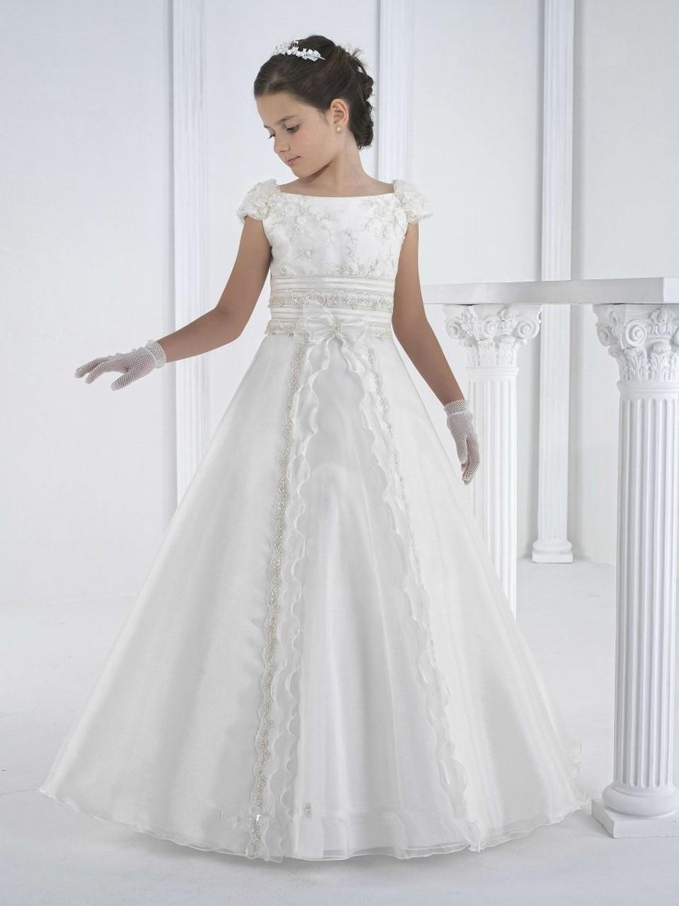 الدانتيل الأبيض زهرة الأميرة اللباس فتاة الزفاف اللباس الفتيات الفاخرة اللباس فتاة حزب الملابس الأولى بالتواصل الاطفال ازياء