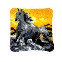 latch hook cushion yarn for cushion cover pillow case sofa cushion printed canvas home decorative pillow animal horse