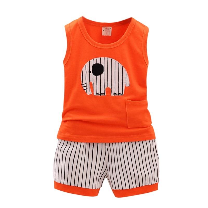 Baby Boys Girls Clothing Sets Children Vest + Pants Set Kids infant Cartoon elephant Clothes Casual Suits 3 Design 2016 Summer