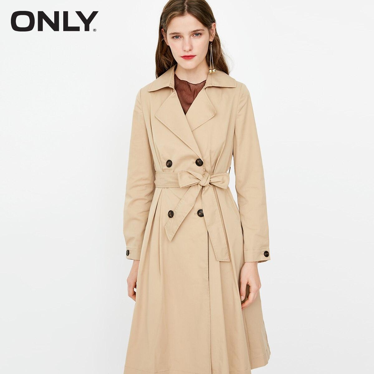 Sólo otoño nueva mujer Lapel Khaki medio cintura longitud viento abrigo   118336551