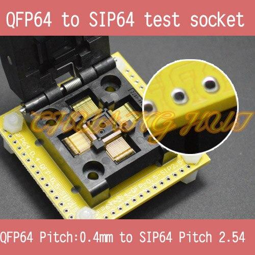 qfp64 test socket ic51 0644 692 test socket ic socket pitch 0 8mm IC TEST QFP64 to SIP64 socket FPQ64 LQFP64 TQFP64 0.4mm to SIP64 2.54mm IC test socket IC51-0644-1972 socket