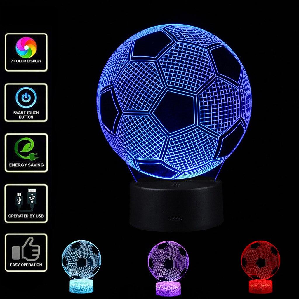 Lámpara LED de fútbol para niños 3D, lámpara de Control remoto táctil con efecto de luz Visual, luz de noche de mesa con 7 colores cambiantes