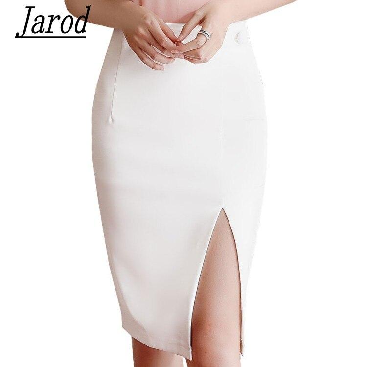 Women Fashion Skirt 2018 New Office Ladies Elegant Pencil Skirt Slim Mid White Skirt Femme Jupe Falda