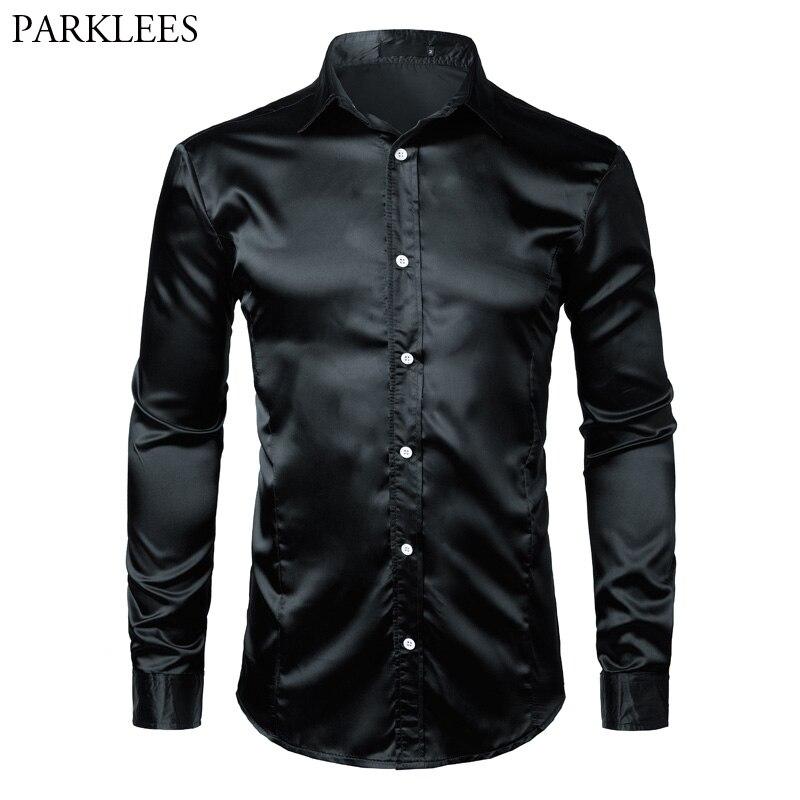 Nowa koszula męska z długim rękawem koszulka Homme 2016 Fashion Design czarna męska jedwabna koszula Slim smoking koszule marki Camisa Social
