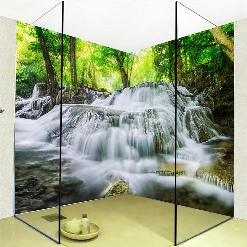 Custom Self-adhesive Bathroom Mural Wallpaper 3D Waterfalls Forest Nature Scenery Wall Sticker PVC Wallpaper Papel De Parede 3 D