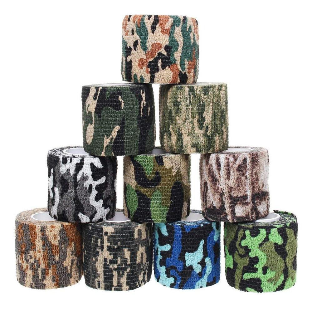 12 Rolls Camouflage Sports Elastoplast Self Adhesive Bandage Muscle Tape Self Adherent Cohesive Wrap