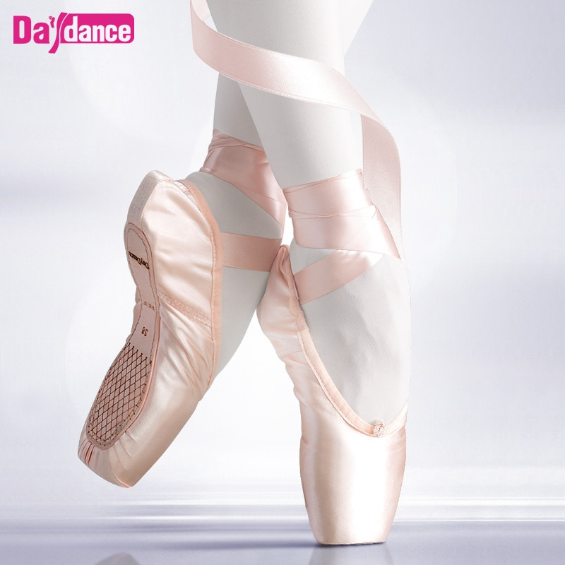 Girls Ballerina Ballet Pointe Shoes Pink Red Women Satin Canvas Ballet Shoes For Dancing