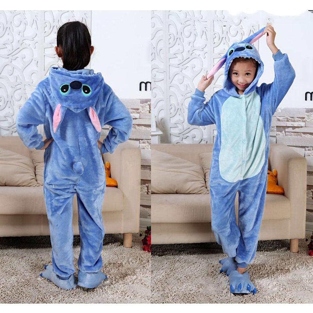 Stitch pijamas para niños dibujos animados kigumi unicornio niños niñas Animal dinosaurio niños Onesies Fannel pijama para 4 6 8 10 12 años