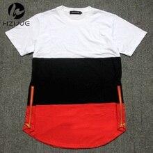 Style dété hommes t-shirts blanc noir rouge patchwork doré côté zipper swag t-shirt streetwear hip hop t-shirts prolongés
