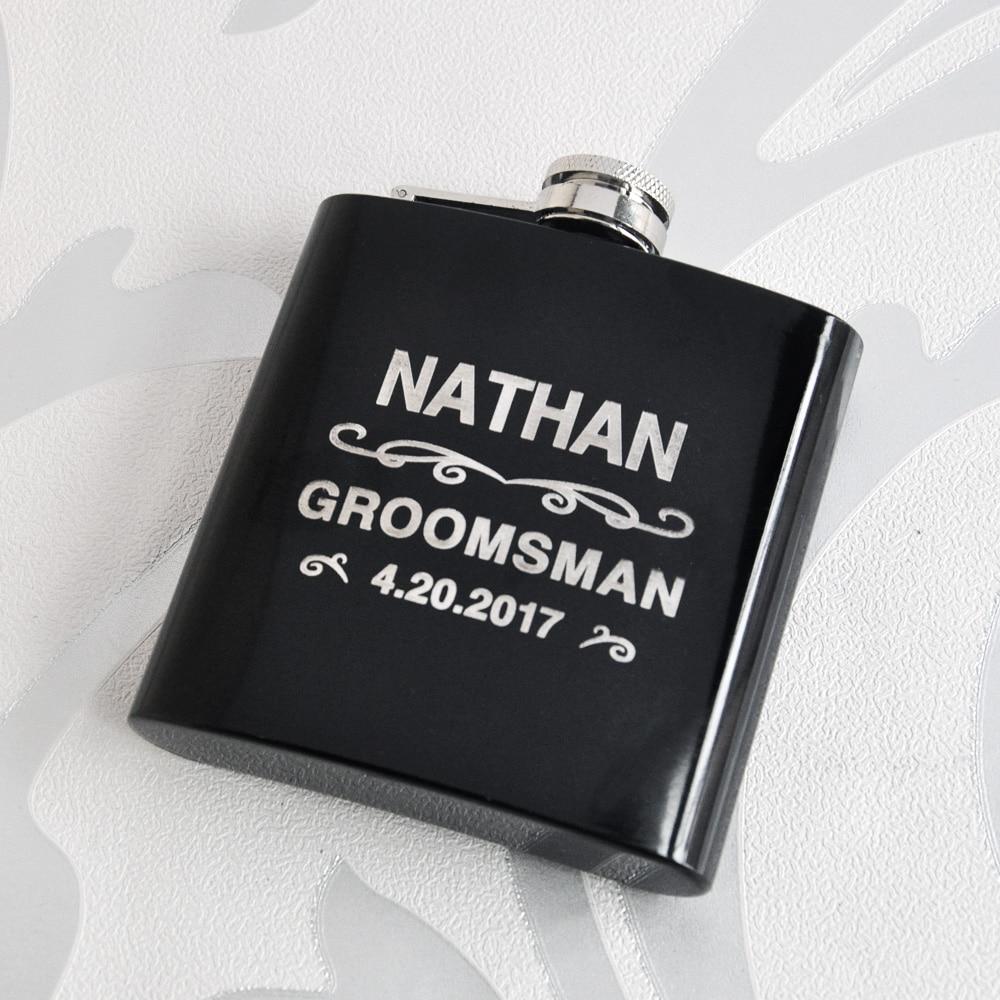 Frasco personalizado, frasco de acero inoxidable negro grabado personalizado, hombre regalo padrino regalo mejor hombre regalo cumpleaños regalo