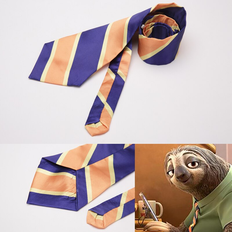 Película cosplay de zootrópolis traje DMV trabajador perezosos Flash accesorios de disfraces Flash Zootopia disfraz de hombre para Halloween corbata