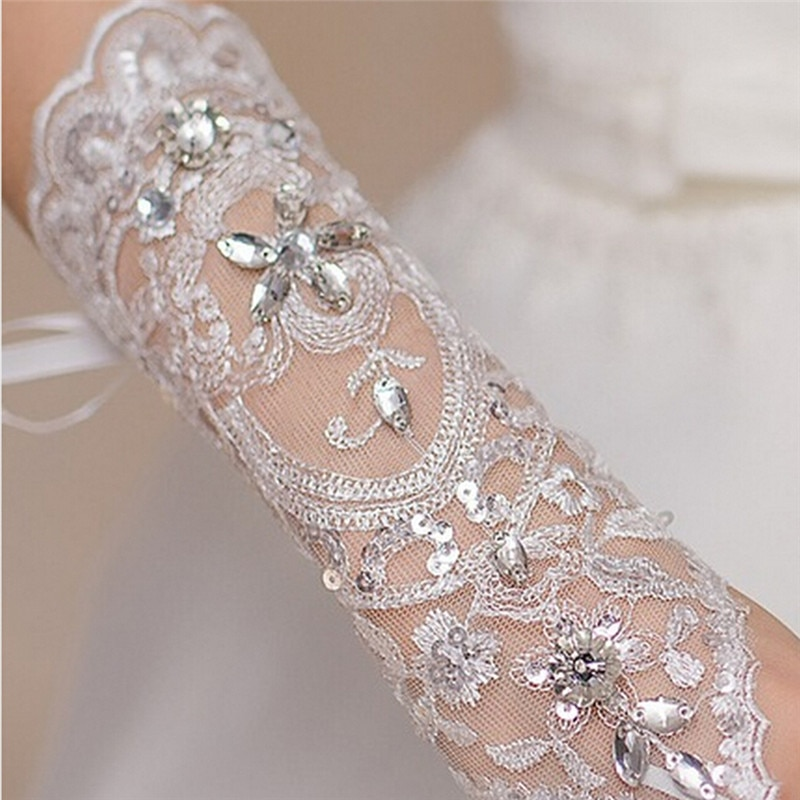 1 paar 2 stijlen wit / rood / beige bruidshandschoenen elegante korte - Bruiloft accessoires - Foto 2