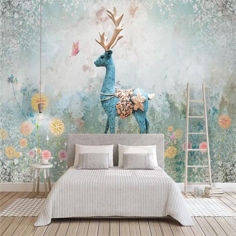 Скандинавский Лось декоративная живопись трехмерный абстрактный Лось фон обои роспись пользовательские фото обои