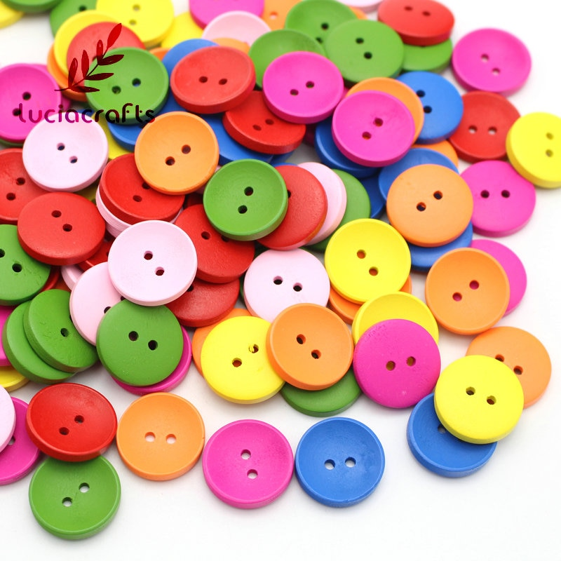 Botón de madera de dibujos animados de 2 agujeros para manualidades, botones de madera de colores mezclados, accesorios de ropa E0217