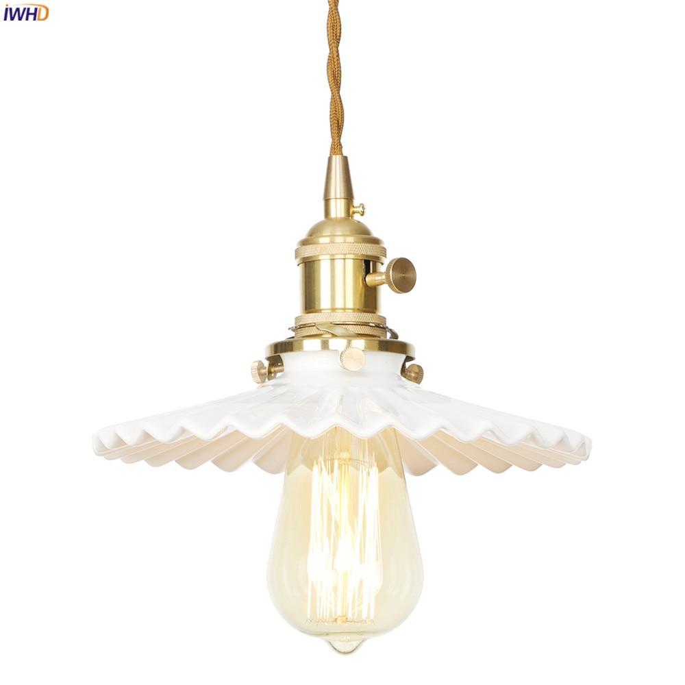 Светодиодный керамический светильник IWHD в скандинавском стиле, современные Медные подвесные светильники для кухни, столовой, гостиной