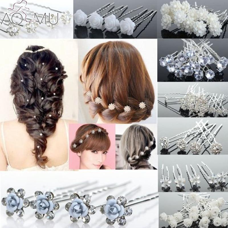 AOMU 20 unids/lote horquillas nupciales de boda de perlas falsas de cristal de la flor del palillo del pelo U forma Clips del pelo joyería del pelo para las mujeres