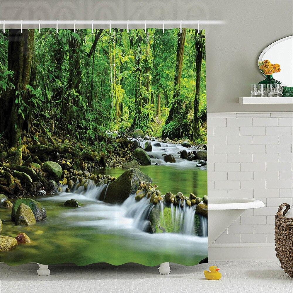 Cortina de ducha de decoraciones de bosque Tropical, cortina de ducha, conjunto de corriente de montaña, bosque Tropical, follaje, paisaje salvaje, Baño