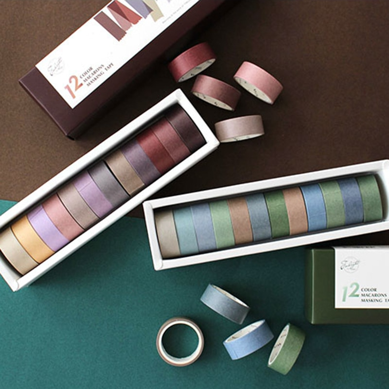 12rolls/set Morandi Masking tape set 15mm/7,5mm washi tapes set Sammelalbum DIY Aufkleber Schule schreibwaren Liefert