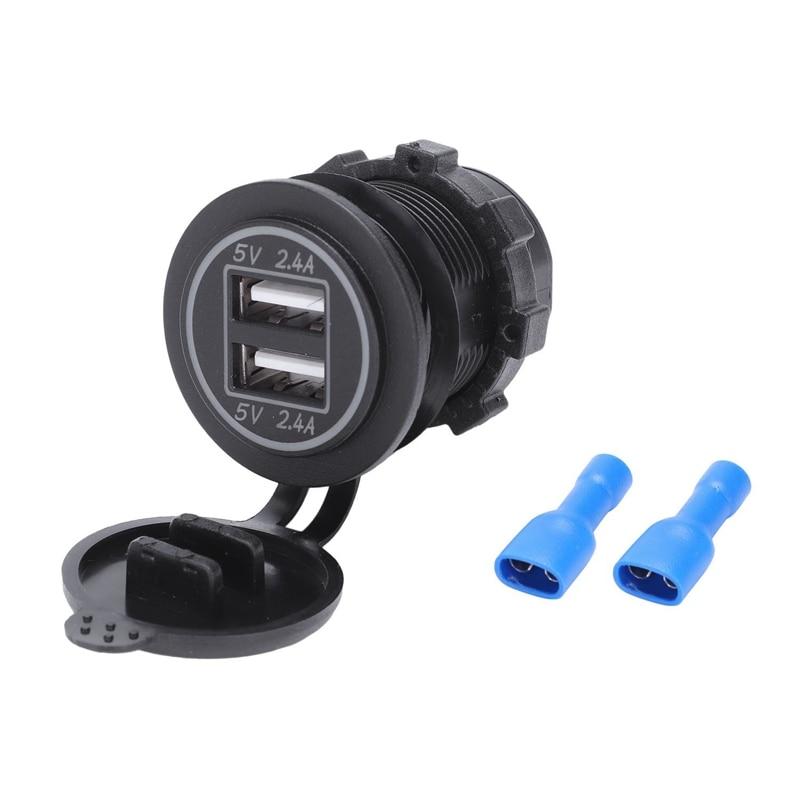 Adaptador de corriente de 5V 4,8 a enchufe cargador Dual Usb para barco de coche Rv 12V 24V