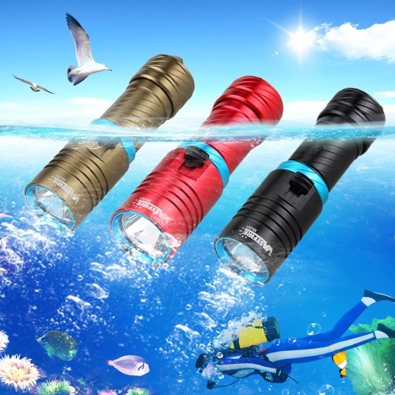 Waterproof T6 LED Scuba LED Light Cycling Flashlight 28650/18650 Torch Waterproof 100M No Battery 3 Colors