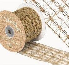 Ruban de dentelle hessienne avec fil naturel   Toile de jute décorative de noël 2 mètres 70mm AA7893