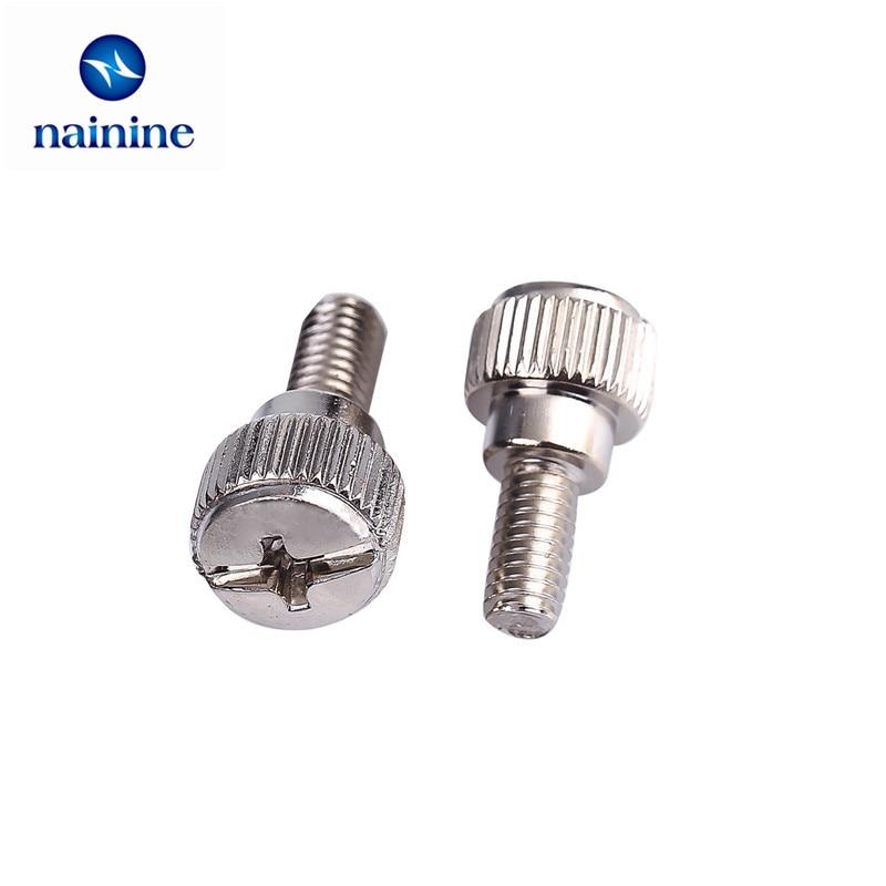 10Pcs M4*8/10/12/16 Nickel Plating Thumb Screw Thread Teeth Computer PC Case Toolless Adjustment Screw Thumbscrews