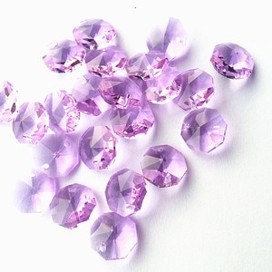 Free Shipping 100pcs/lot 14mm Lilac Crystal Octagon Beads in One Hole For Chandelier Pendants Glass Curtain Beads Supplies