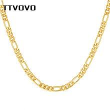 TTVOVO hommes or rempli Figaro chaîne colliers pour hommes femmes 5MM de large cubain gourmette lien chaîne pour pendentif Hip Hop bijoux cadeaux