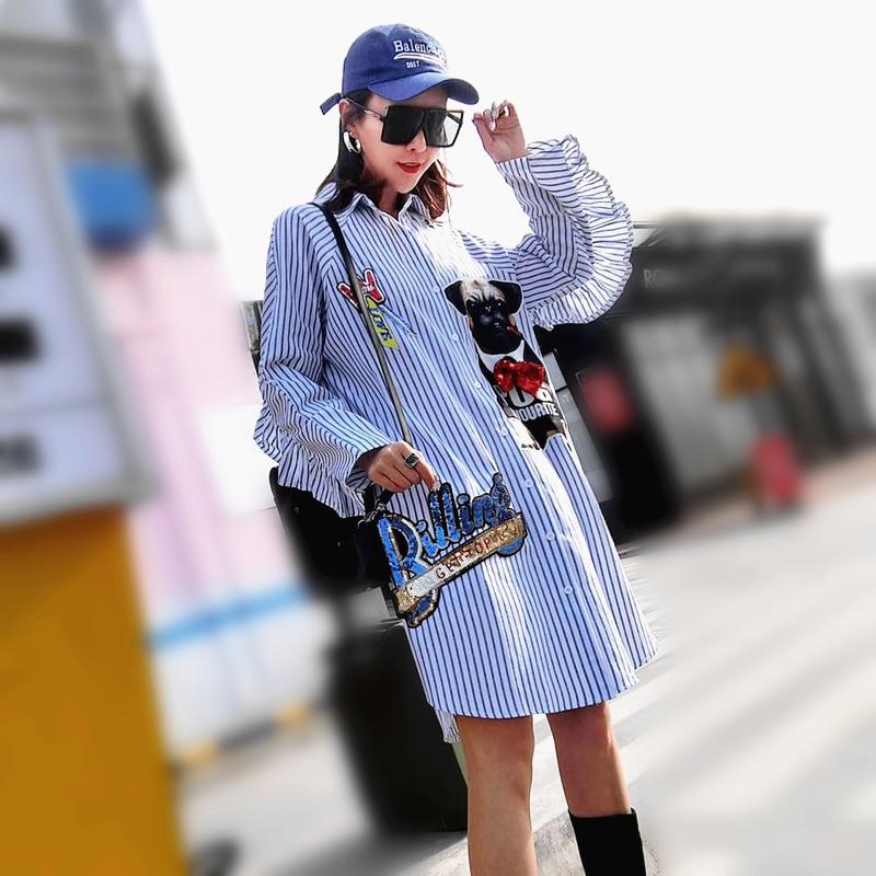 Primavera outono feminino listras imprimir blusa grande casual babados manga longa camisas soltas senhoras dos desenhos animados lantejoulas topos plus size sl080