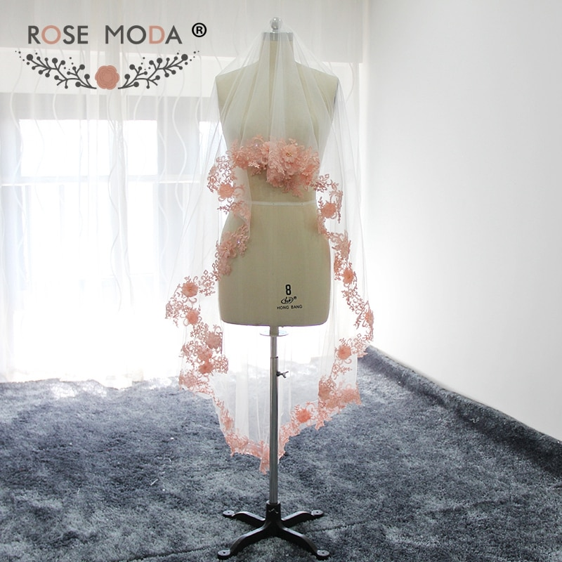 Розовая кружевная вуаль, на заказ, 200 см, с румянами, розовая, мягкая, тюль, белая, цвета слоновой кости, 2 м, ручная работа, цветы