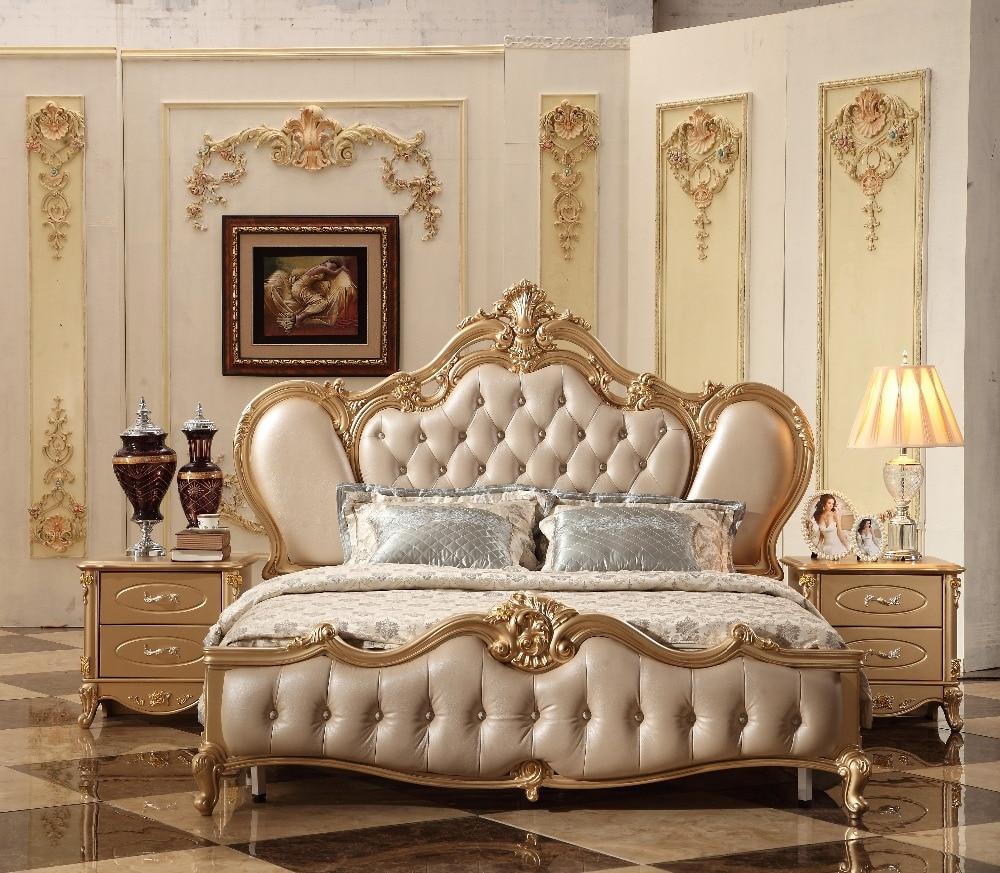 2018 nuevo diseño de lujo dorado Real Corte tallado cama de cuero, champán francés tallado cuero cama King Size cama MB-A12