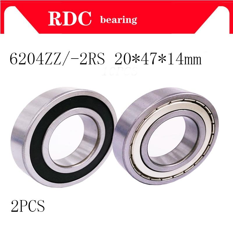 2PCS 6204ZZ 6204 6204 2RS 20x47x14mm Mini Ball Bearing Miniature Bearing Deep Groove Ball Bearing