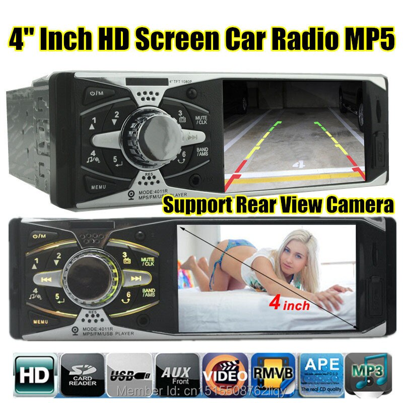 4,0 HD Car radio estéreo 12V vista trasera TFT reproductor MP5 AUX/SD/USB/FM cargador en el tablero 1 din MP3/MP4/Audio/Video/electrónica del coche