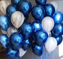 1set Metallic Blue Mixed Black Marble Agate Latex Helium Balloon Happy Birthday Party Decorations Adult Balloon Wedding Supplie