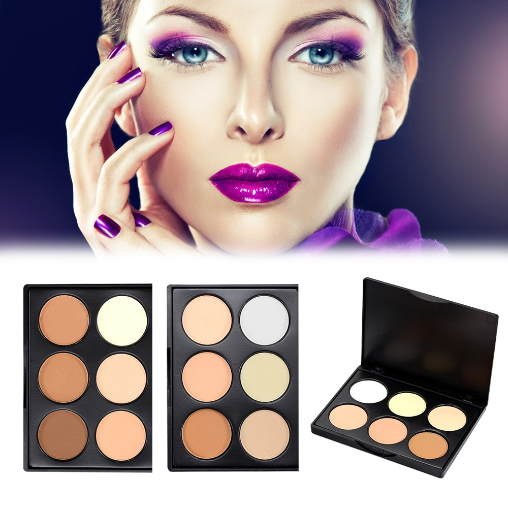 Juego de paleta de polvo compacto de 6 colores ELECOOL + juego de contorno de base de Maquillaje facial mate de un solo cepillo de polvo maquillaje sin aceite TSLM1