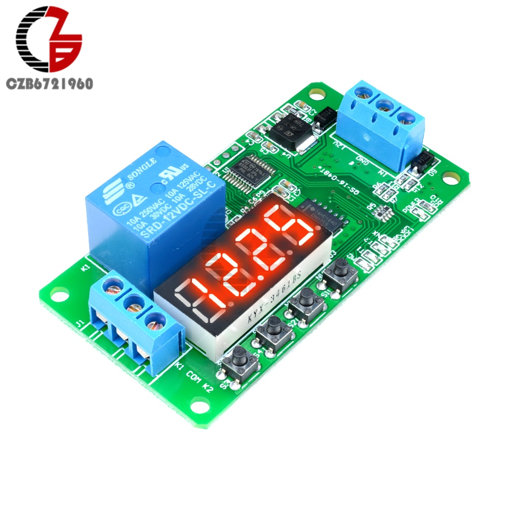 Relé de retardo de tiempo de 18 funciones 5V 12V CE030 relé temporizador PLC interruptor de control del temporizador Digital pantalla LED para luz LED