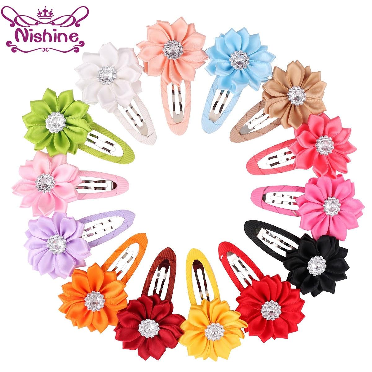 Nishine 10 шт./лот, атласная лента, цветок, заколка для волос, заколки для волос для девочек, детский головной убор, украшение для волос, аксессуар...